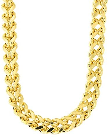 14k REAL Yellow Gold 6.4mm Shiny Diamond-Cut Square Franco Chain Necklace Or Bracelet for Pendants and Charms with Lobster-Claw Clasp (9″, 24″ or 26 inch) Mens Solid Franco Chains Jewelry