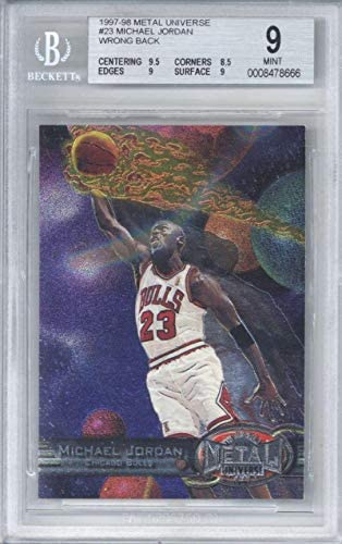 Michael Jordan 1997-98 Metal Universe PMG Wrong Back ERROR 1of 1#23 BGS 9 – Basketball Slabbed Cards