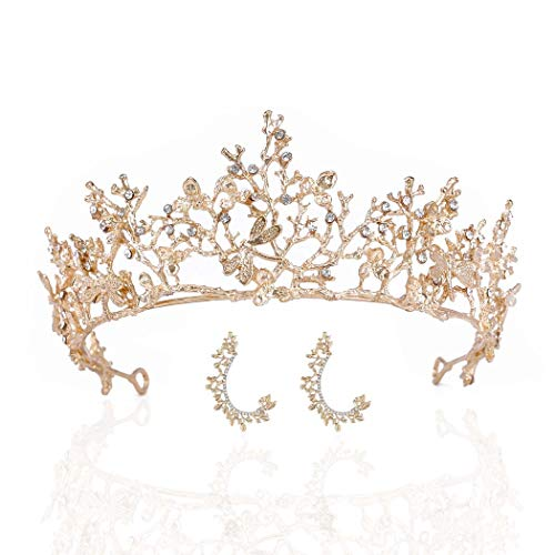 Earent Bride Wedding Crowns and Tiaras Gold Rhinstone Crown Princess Tiara Vintage Crystal Headband Prom Costume Headpieces for Women and Girls