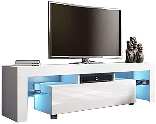 White TV Stand with LED Lights, US Fast Shipment Andees Mid Century Modern Wood High-Gloss TV Stand for 40/43/50/55/65 Inch Television Media Console Entertainment Center Living Room Furniture