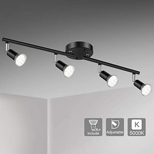 Unicozin LED 4 Light Track Lighting Kit, Black 4 Way Ceiling Spot Lighting, Flexibly Rotatable Light Head, Track Light Included 4 x LED GU10 Bulb (4W, Daylight White 5000K, 400LM)