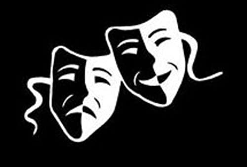 CCI043 – Theater Masks Decal Vinyl Sticker|Cars Trucks Walls Laptop|White|6 X 4 in