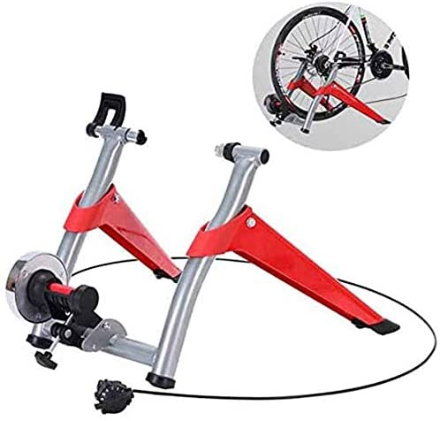 HFJKD Exercise Bicycle Trainer Stand Indoor Magnetic Resistance 6 Levels Adjustable Wire Control Fold Home Sport Fitness Noise Reduction Stationary Exercise Steel Frame