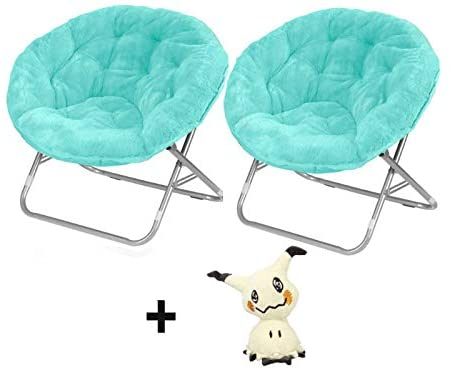 Mainstays Faux-Fur Saucer Chair in Blue 2 Pack with Stuffed Toy (Bundle)