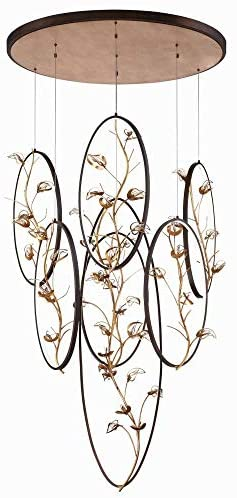 Bailey Street Home 79-BEL-2656968 Transitional LED Chandelier with Gold Branch/Crystal Accents – 49 inches – Chandeliers, Gold Finish with Bronze Shade
