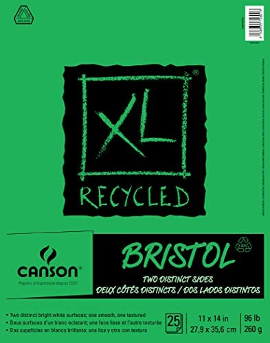 Canson XL Series Recycled Bristol Pad, 11″ x 14″, Fold-over Cover, 25 Sheets (100510933)