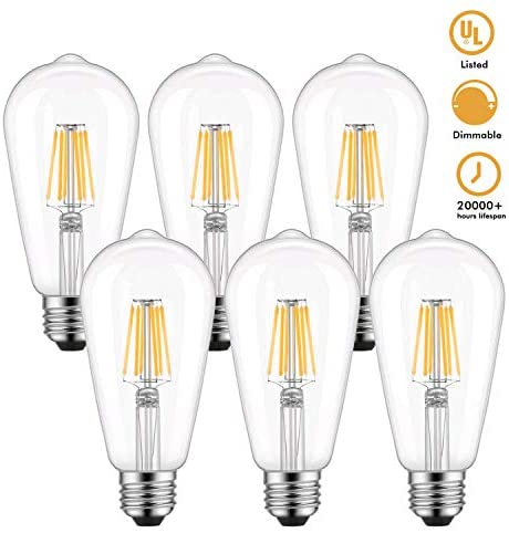 ST64 Vintage Edison LED Light Bulb 60W Equivalent, Warm White 2700K, Kohree 6W Dimmable LED Filament Bulb E26 Base Lamp for Home, Restaurant, Reading Room, 6 Packs