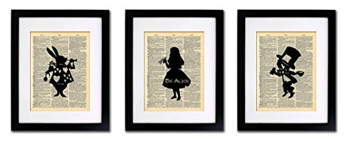 Alice in Wonderland Tea Party – 3 Print Set – Vintage Dictionary Print 8×10 Home Vintage Art Abstract Prints Wall Art for Home Decor Wall Decorations For Living Room Bedroom Office Ready-to-Frame 3