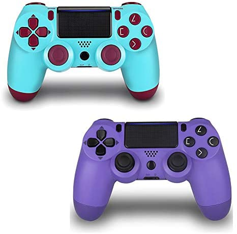 2 Pack Game Controller for PS4- Double Shock 4 Wireless Controller for Playstation 4 – Joystick with Sixaxis, Bluetooth, Super Power, Micro USB, Multi-Touch Clickable Touch Pad (BERRYPURPLE)