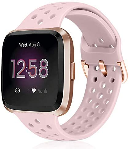 Runostrich Sport Band Compatible with Fitbit Versa 2/Fitbit Versa/Versa Lite/SE, Soft Silicone Strap Replacement Breathable Wristband Accessories for Smart Fitness Watch for Women Men (Pink Sand)