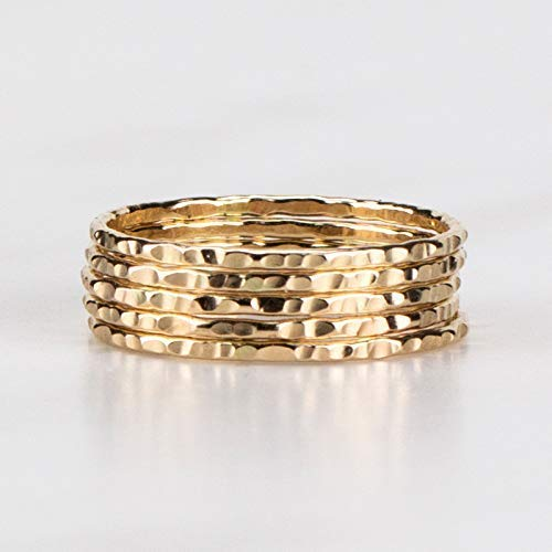 Delicate Stacking Rings Hammered 14K Yellow Gold Fill Sold per Ring Custom Made To Your Size