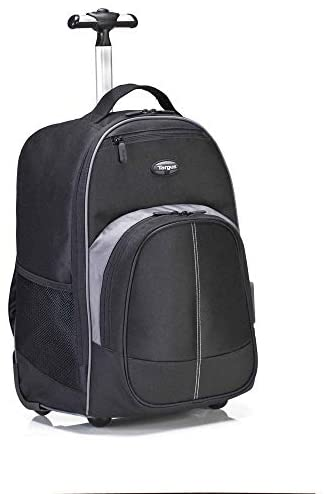 Targus Compact Rolling Backpack for Business, College Student and Travel Commuter Wheeled Bag, Durable Material, Tablet Pocket, Removable Laptop Protective Sleeve for 16-Inch Laptop, Black (TSB750US)
