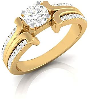 0.49Ct Solitaire Moissanite IDCL Certified Ring, Unique Partywear Stackable Ring, DEF-VS1 Color Clarity Gemstone Cluster Ring, Engagement Wedding Ring, 18K Gold
