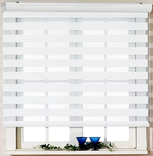 Foiresoft Custom Cut to Size, [Winsharp Basic, White, W 72 x H 82 inch] Zebra Roller Blinds, Dual Layer Shades, Sheer or Privacy Light Control, Day and Night Window Drapes, 20 to 110 inch Wide