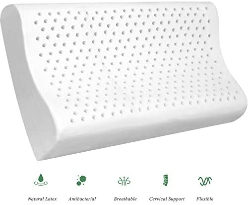 YWSHUF Natural Latex Pillow for Sleeping with Washable Pillow Case,Cervical Pillow for Neck Pain,Organic Hypoallergenic Orthopedic Contour Pillow Support for Side,Back,Stomach Sleepers – Standard Size