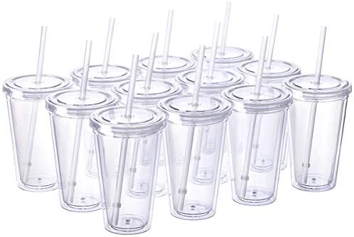 Cupture Classic 12 Insulated Double Wall Tumbler Cup with Lid, Reusable Straw & Hello Name Tags – 16 oz, Bulk Pack (Clear)