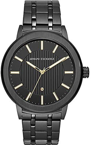 AIX Men's Three-Hand Black Stainless Steel Watch with Diamond AX1465