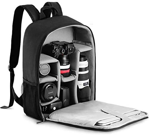 CADeN Camera Backpack Bag with Laptop Compartment 15.6″ for DSLR/SLR Mirrorless Camera Waterproof, Camera Case Compatible for Sony Canon Nikon Camera and Lens Tripod Accessories Black