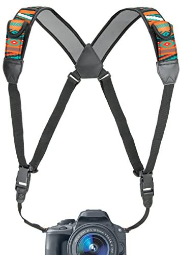 USA GEAR DSLR Camera Strap Chest Harness with Quick Release Buckles, Southwest Neoprene Pattern and Accessory Pockets – Compatible w/Canon, Nikon, Sony and More Point and Shoot and Mirrorless Cameras