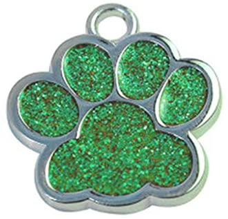 Glitter Paw Pet ID Tags, FunDiscount Paw Print Engraved Stainless Steel Pet Tag for Dogs and Cats Cute Mini Shine ID Name Address Phone Number Tag Collar Necklace Pendant Jewelry Gift (Green)