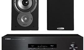 Yamaha R-S202 Stereo Receiver Bundle with Polk TSi100 2-Way Bookshelf Speakers with 5-1/4″ Driver – (Pair) Black