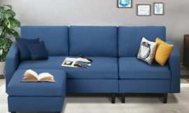 Esright Small Sectional Sofa Couch 3-Seat Living Room Small Convertible Couch Modern Linen Fabric L-Shape Couch with Chaise Lounge for Small Space Apartment, Blue