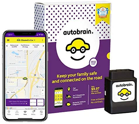 Autobrain GPS Tracker for Vehicles, Cars, Trucks, 6 Month Data Plan, OBDII Real Time Location Tracking Device, Senior & Teen Driver Monitoring System, Speed & Curfew Alerts, Roadside Assistance