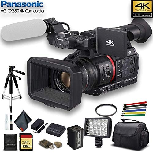Panasonic AG-CX350 4K Camcorder (AG-CX350) W/Padded Case, 128 GB Memory Card, Heavy Duty Tripod, Wire Straps, LED Light, and More?