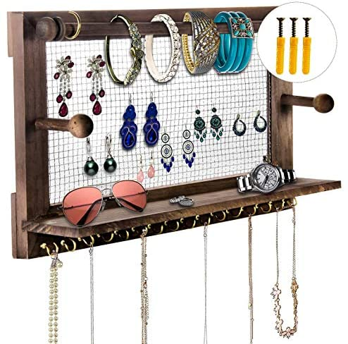 Jewelry Organizer, POZEAN Rustic Jewelry Organizer Wall Mounted, Wooden Jewelry Holder with 16 Hooks for Holding Earrings, Necklaces, Bracelets and Other Accessories (Included 2 Screws and Anchors)