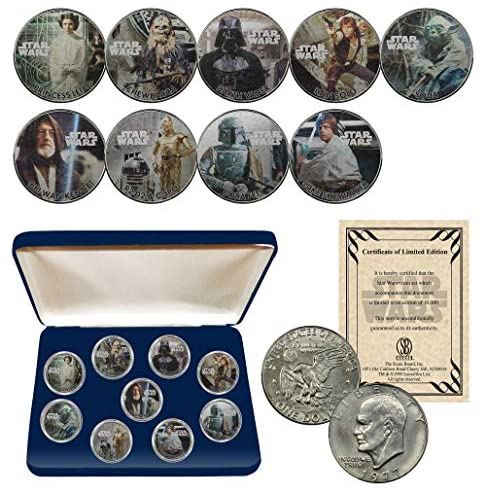 STAR WARS Licensed 1977 Eisenhower Dollar Collectible Art 9-Coin Set with BOX and CERTIFICATE