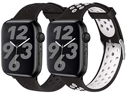 SKYLET Sport Bands Compatible with Apple Watch 42mm 44mm 38mm 40mm, Soft Silicone Breathable Wristbands Replacement Straps Compatible with Apple Watch Series 5 4 3 2 1 for Women Men(Black,White)