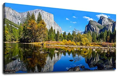Large Canvas Wall Art Mountain and Lake Landscape Picture Canvas Art Yosemite National Park Green Forest Blue Lake Water Contemporary Nature Artwork for Home Decoration Office Wall Decor 24″ x 48″