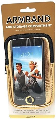 Formfit Armband and Storage Compartment for Smartphones. Sweat Resistant. Multi Use. Compatible with iPhone, Samsung Galaxy, Android & Most Smartphones. Metallic Gold.