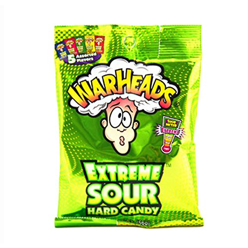 Warheads Extreme Sour Hard Candy Assorted Flavors 2 Oz. (Pack of 3)