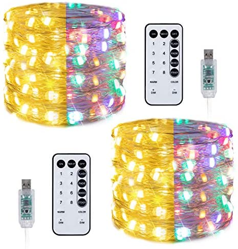 USB Fairy String Lights with 2 Color Options: 33 Ft 100 LED Twinkle Mini Lights Decor with Remote & 20 Light Modes for Bedroom Wall Christmas Tree Home Party Wedding | Warm White & Multicolor | 2 Pack