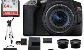 Canon EOS Rebel SL3 DSLR Camera with 18-55mm Lens Black Bundle, Includes 64GB SDXC Class 10 Memory Card, Full Size Tripod, Telephoto and Wide Angle Lenses, More (9 Items)