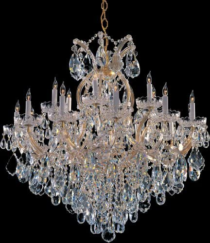 Crystorama 4418-GD-CL-S Maria Theresa – Eightteen Light Chandelier, Crystal Style Options: Clear Swarovski Strass