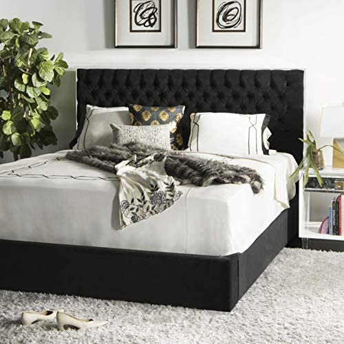 Safavieh Couture Collection Chester Giotto Black Velvet Tufted King Bed