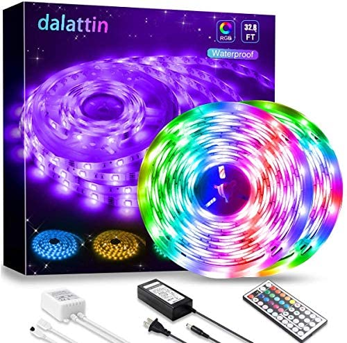 LED Lights,Dalattin LED Strip Lights 32.8ft Waterproof Color Changing RGB 5050 300 Led Rope Lights for Bedroom Kit with 44 Keys Remote Controller and 12V Power Supply for Room Bathroom Indoor Outdoor