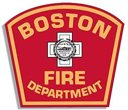 GHaynes Distributing BOSTON Fire Dept Logo Shaped Sticker Decal (firefighter department mass) 4 x 4 inch