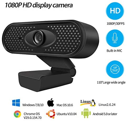 1080P Webcam with Microphone, USB 2.0 Desktop Laptop Computer Web Camera with Auto Light Correction, Plug and Play, for Windows Mac OS, for Video Streaming, Conference, Gaming, Online Classes