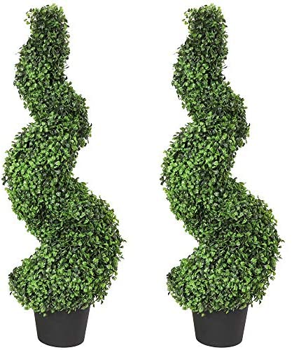 Damomo 3ft (2 Pieces) Topiary Trees Boxwood Artificial Plants Spiral Feaux Plants Potted Fake Plant Green Decorative Indoor or Outdoor (35 Inches).