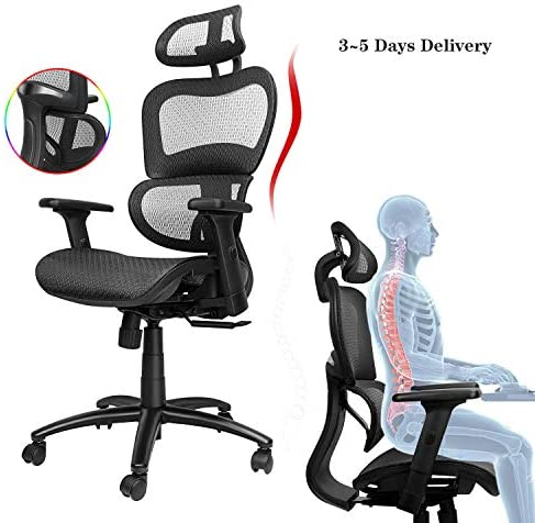 Komene Ergonomic Mesh Office Chair, High Back Home Computer Chair with Lumbar Support, Adjustable Seat Height and Headrest, 3D-Armrests and Breathable Back Support Swivel Desk Chair (Black)