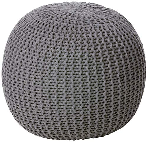 Urban Shop Round Knit Pouf – Hand Woven Cotton, Grey