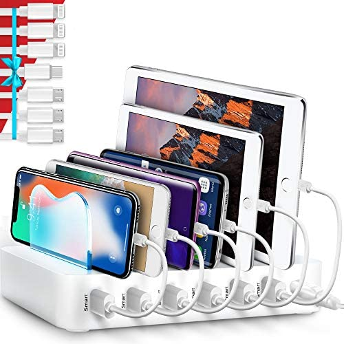 Poweroni USB Charging Station Dock – 6-Port – Fast Charge Docking Station for Multiple Devices – Multi Device Charger Organizer – Compatible with iPad iPhone and Android Cell Phone and Tablet – White