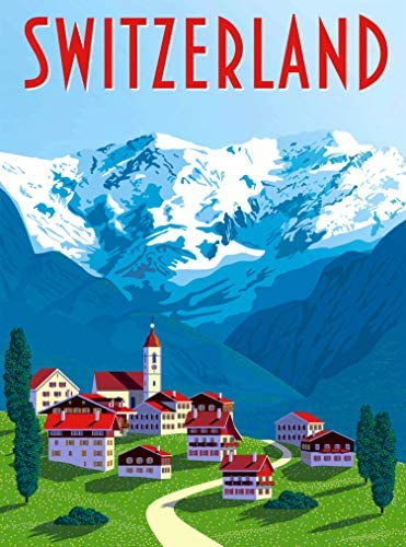 A SLICE IN TIME Switzerland – Schweiz – Suisse Retro Home Collectible Wall Decor Travel Advertisement Art Poster Print. 10 x 13.5 inches