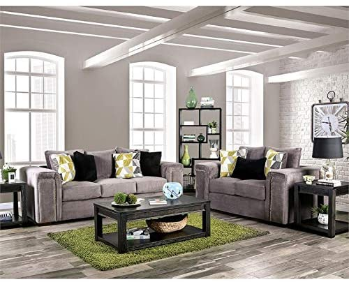 Furniture of America Divana Fabric 2-Piece Upholstered Sofa Set in Warm Gray