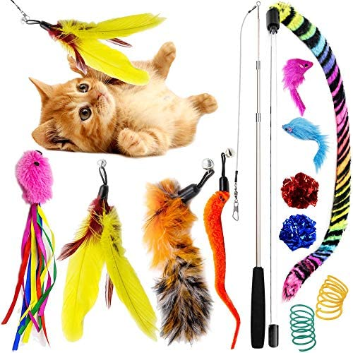 SillyPet 12 Pieces Cat Toys Teasing Feather Toy, Retractable Wand with Assorted Teaser Refills, Interactive Feather Teaser Wand Toy Bell Kitten Cat Having Fun Exerciser Playing