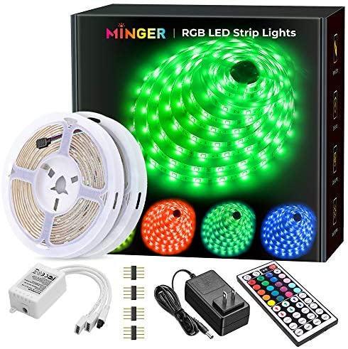 MINGER Led Strip Lights Kit, 32.8Ft RGB Light Strip with Remote, Controller Box and Support Clips for Room, Bedroom, Home, Kitchen Cabinet, Party Decoration 12V/3A Adapter, Non-Waterproof, 2×16.4Ft