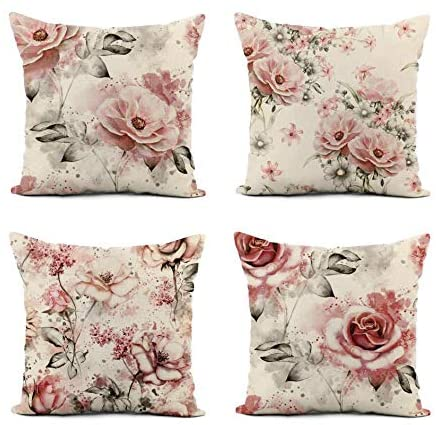 Awowee Set of 4 Linen Throw Pillow Cover Pink Flowers and Leaves on Watercolor Floral Pattern Rose 20×20 Inches Home Decor Square Flax Pillowcase Cushion Cover for Couch Sofa